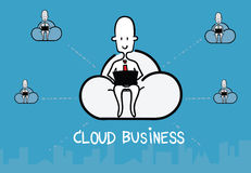 Vector : Business man siting on cloud and work with computer and Royalty Free Stock Photo