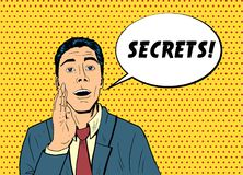 Pop art man telling secret. Vector business man telling secret information, holding hand beside the mouth, speech bubble with the word Secrets Pop art retro Stock Image
