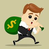 Vector business man tired carries a heavy bag of money. Dollars, manager character Royalty Free Stock Image