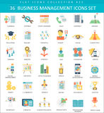 Vector Business management color flat icon set. Elegant style design. Stock Image