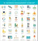 Vector Business management color flat icon set. Elegant style design. Stock Image