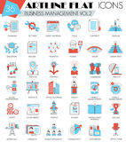 Vector Business management ultra modern outline artline flat line icons for web and apps. Stock Photo