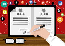 Vector Business marketing agreement signed visual collaboration. In doing business with pen and paper flat design. Vector Business marketing agreement signed Royalty Free Stock Photos