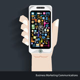 Vector Business Marketing Communications. With business icons Stock Images