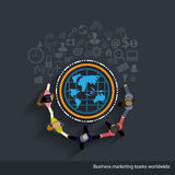 Vector Business markets worldwide. With business icons and business teams Stock Photo