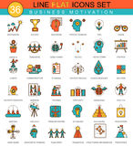 Vector Business motivation and discipline flat line icon set.   Royalty Free Stock Photo