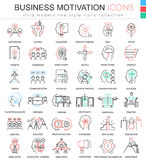 Vector Business motivation and discipline ultra modern color outline line icons for apps and web design. Royalty Free Stock Photos
