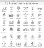 Vector Business motivation and discipline ultra modern outline line icons  Stock Image