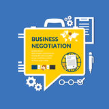 Vector Business negotiations. Business negotiations. The original concept of the poster. Vector illustration with a picture of a yellow business case with Royalty Free Stock Photo