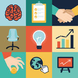 Vector business and office icons and illustrations Royalty Free Stock Images