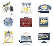 Vector business and office icons. Part 1. Set of detailed business icons in  blue and yellow colours Royalty Free Stock Photography