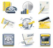 Vector business and office icons. Part 2. Set of detailed business icons in  blue and yellow colours Royalty Free Stock Images
