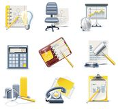 Vector business and office icons. Part 3. Set of detailed business icons in  blue and yellow colours Royalty Free Stock Images