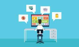 Vector business online shopping and e-marketing Royalty Free Stock Photos