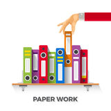 Vector business papers and folders concept in flat style.  Royalty Free Stock Photos