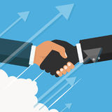 Vector business partnership illustration. Handshake. Symbol of s. Handshake, business partnership. Symbol of success deal, happy business partnership, agreement Royalty Free Stock Images