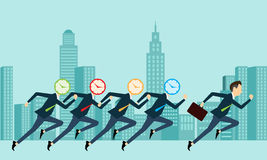 Vector business people competitive with business time. Business competition with time concept Stock Photos