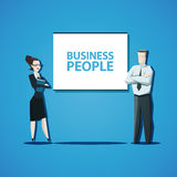 Vector business people concept. Businessman and businesswoman standing in front of the flip chart Stock Photos