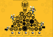 Vector business people to the path of success and victory. Business people to the path of success and victory for trade competition with gears and a light bulb Royalty Free Stock Images