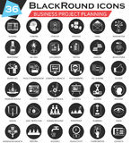 Vector Business project planning circle white black icon set. Ultra modern icon design for web. Stock Images