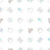 Vector business seamless background with signs and symbols in mono line style Stock Images