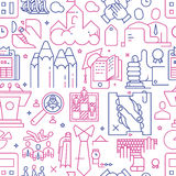 Vector business seamless pattern linear style. Vector business seamless pattern with icons and signs in linear style components of the business project on white Royalty Free Stock Image