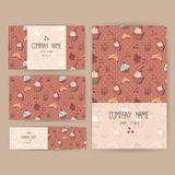 Vector business set template with cute hand drawn dessert illustrations. Restaurant or cafe branding elements. Flyers design with Royalty Free Stock Photo