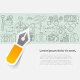 Vector business set template with doodles icons. Hand drawn illustrations Royalty Free Stock Image