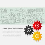 Vector business set template with hand drawn illustrations and branding elements. Flyer design doodles icons Stock Photo