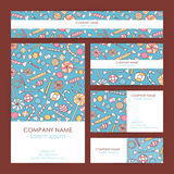 Vector Business Set Template with Hand Drawn Sweets. Flyer, Banner and Business Card Design Royalty Free Stock Photo