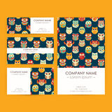 Vector Business Set Template with Owls Illustrations Stock Photo