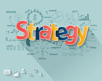 Vector business strategy concept. Business strategy concept, With creative drawing charts and graphs business strategy plan concepts and ideas, workflow layout Royalty Free Stock Photos