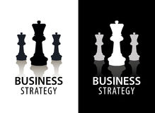 Vector business strategy logo, concept, chess logo. Black and white with reflection. Game, management, finance logo Stock Images