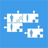 Vector business team building icon   flat design infographics. Vector business team building pictogram icon   flat design infographics template white on blue Royalty Free Stock Photography