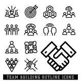 Vector illustration business team building people concept teambuilding work management outline trainings icons. Royalty Free Stock Images