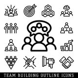 Vector illustration business team building people concept. Vector business team building people teambuilding outline icons concepts illustration trainings Stock Photo