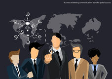Vector business teams work to communicate trade ideas, marketing, negotiation, dialogue, collaboration, flat design. Vector business teams work to communicate Royalty Free Stock Photo