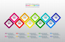 Vector business template for presentation. Infographics step by step. Universal abstract element of chart, graph, diagram with 10 steps, options, parts Royalty Free Stock Photo