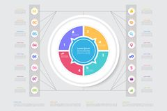 Vector business template for presentation. Modern data visualization. Abstract elements of graph, diagram with steps, 8 options. Eps10 royalty free illustration