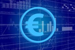 Business money sign illustration. Vector business theme illustration. A euro sign against the background of electronic digits and graphs Royalty Free Stock Images