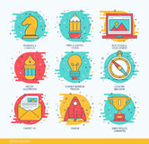 Vector business thin line icons set of design production studio, graphic solution provided services. Stock Images