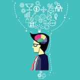 Vector business users brain into thinking the market.Young businessman lifting his great business plan above head Stock Image