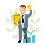 Vector Business Victory. Flat style colorful Cartoon illustration. Royalty Free Stock Photography