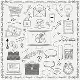 Vector Business Vintage Black Hand Sketched Icons Stock Photography