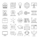 Vector business webinar and online education outline icons Stock Photos