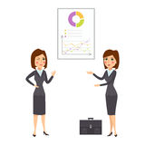 Vector business woman character silhouette presentation adult office career posing young girl. Stock Photo