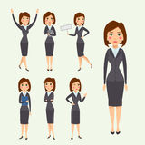 Vector business woman character silhouette standing adult office career posing young girl. Stock Photo