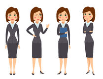 Vector business woman character silhouette standing adult office career posing young girl. Royalty Free Stock Photography
