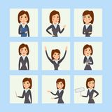 Vector business woman character silhouette standing adult office career posing young girl. Royalty Free Stock Photos