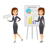 Vector business woman character silhouette standing adult office career posing young girl. Stock Image